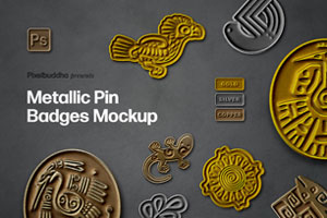 Metallic Pin Badge Mockup Set by Pixelbuddha