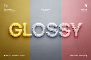 Glossy 3D PSD Text Effects by Pixelbuddha