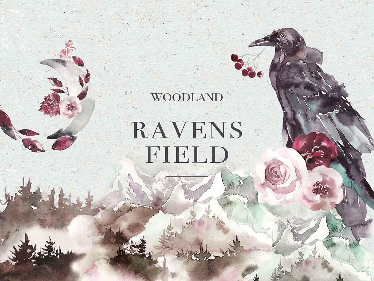 Woodland Ravens Watercolor Kit