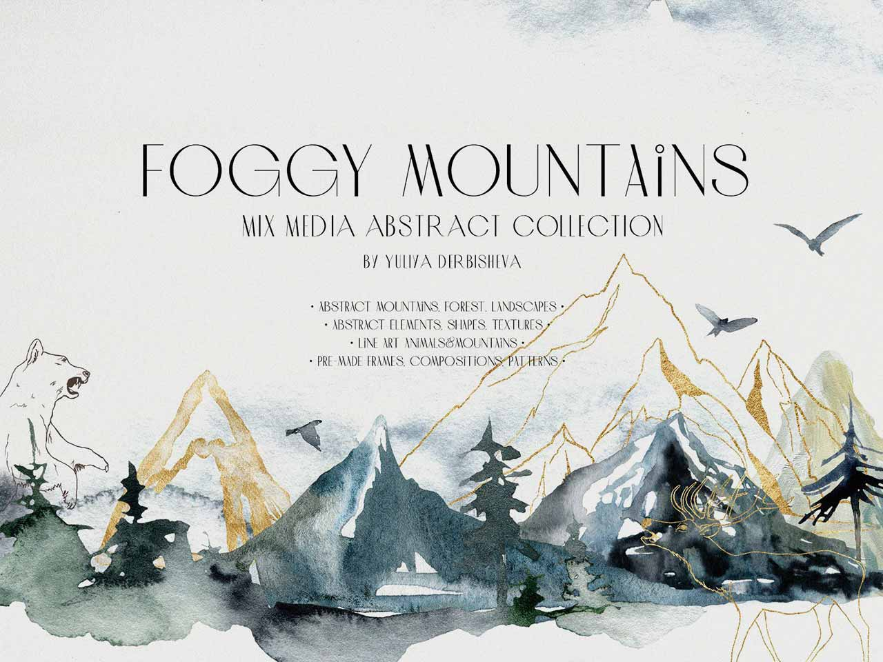 Foggy Mountains & Forest Watercolor