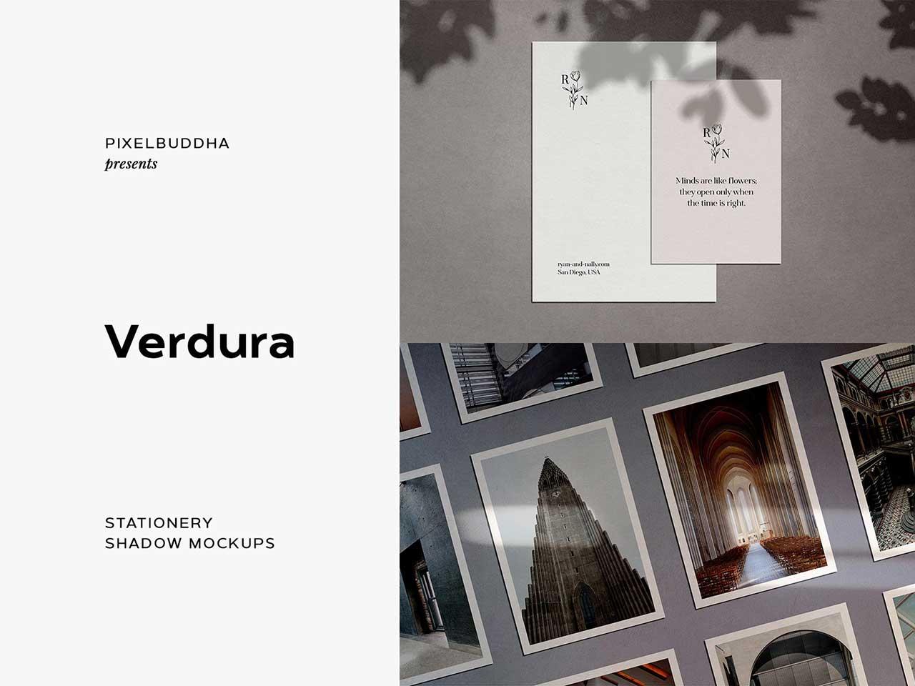 Verdura Stationery Shadow Mockups