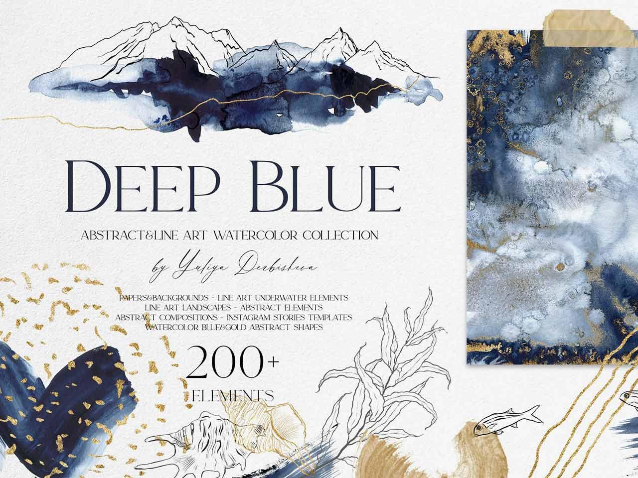 Deep Blue — Abstract Watercolor Set