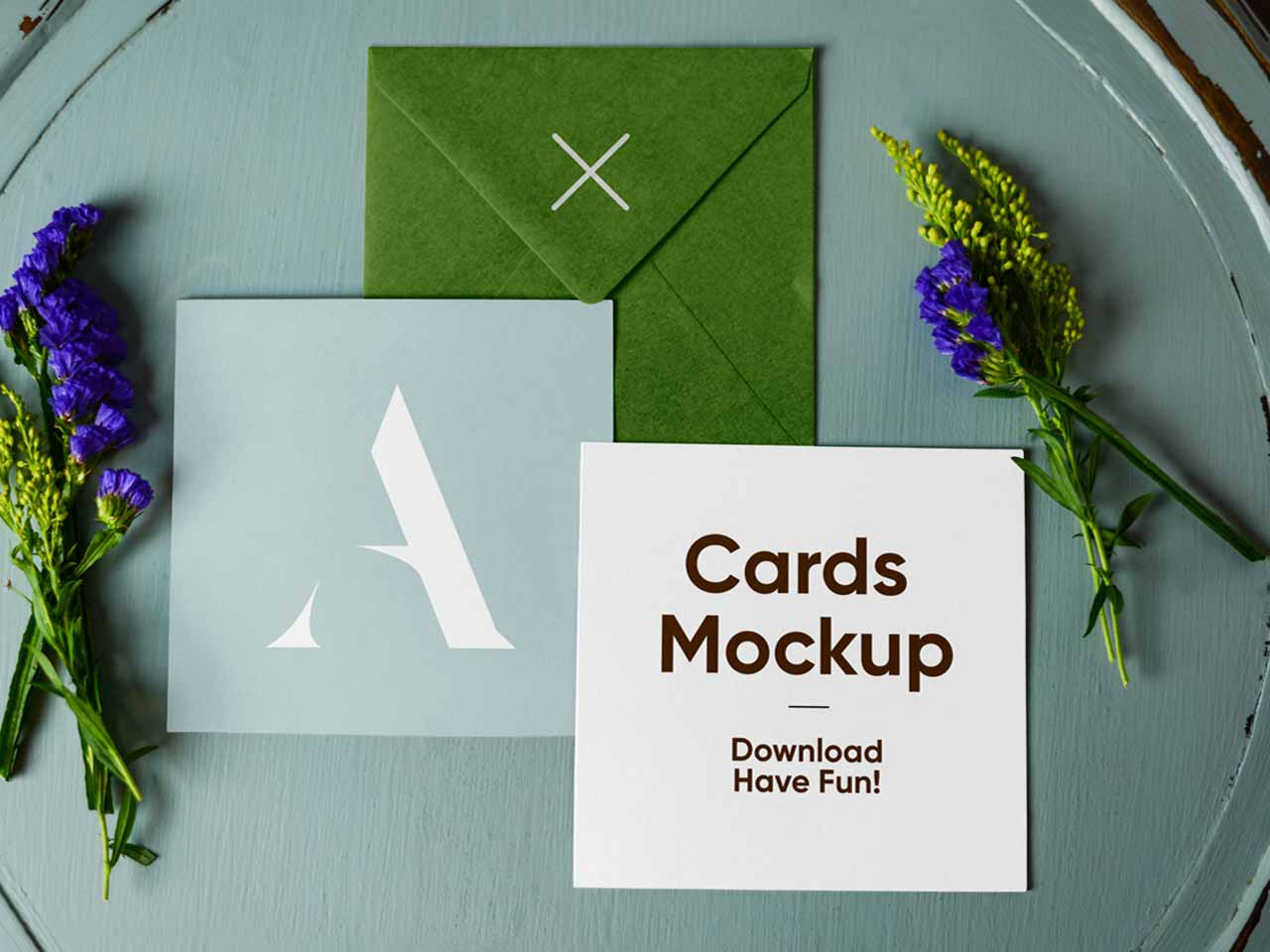 Envelope With Cards Mockup