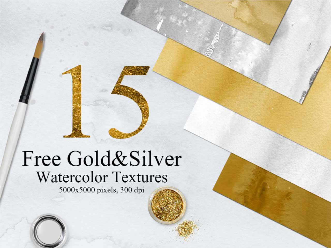 15 Free Gold and Silver Watercolor Textures